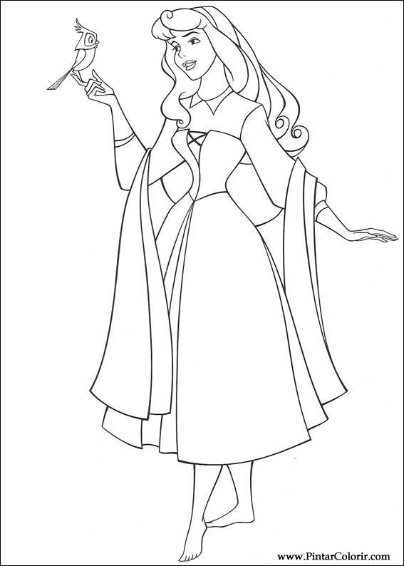 Drawings To Paint amp Colour Sleeping Beauty Print Design 017