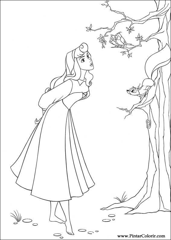 Drawings To Paint amp Colour Sleeping Beauty Print Design 019