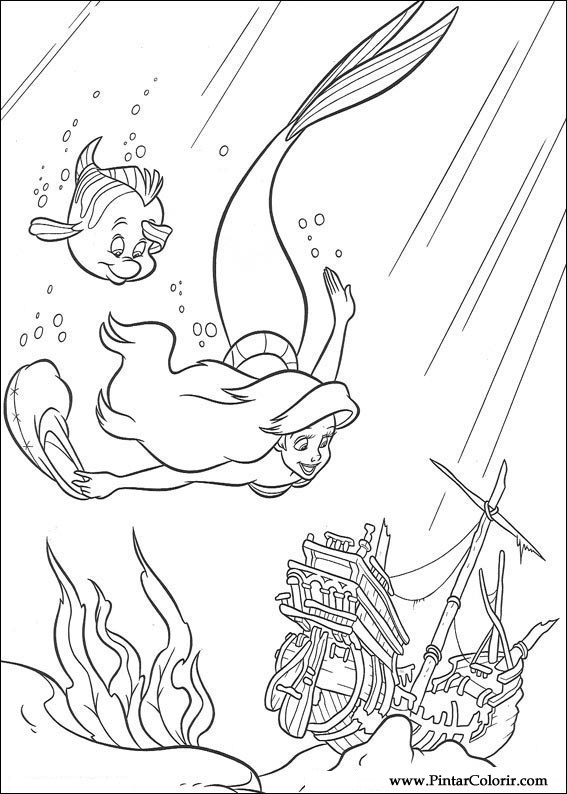 Drawings To Paint amp Colour The Little Mermaid Print Design 021