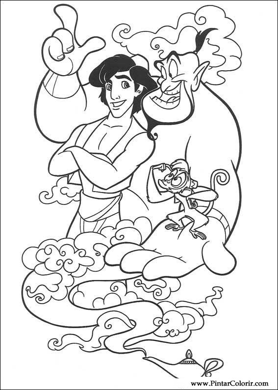 Drawings To Paint Amp Colour Aladdin