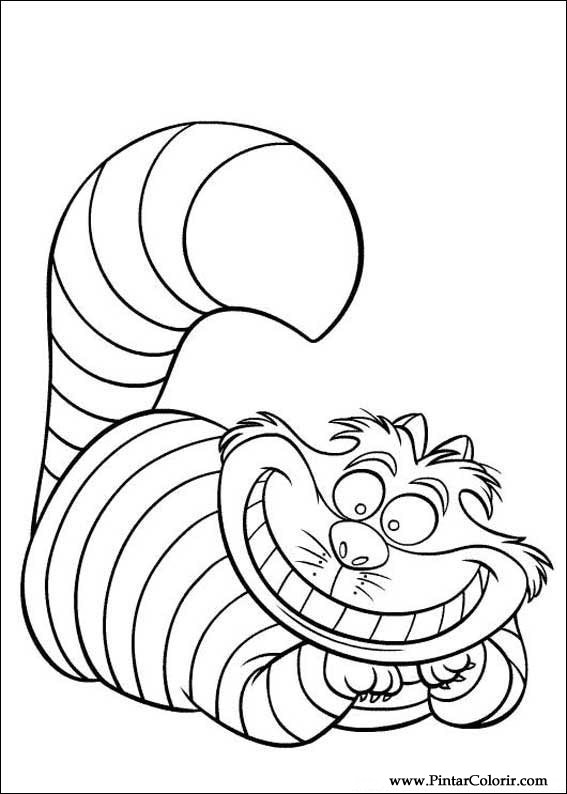 Drawings to paint colour alice in wonderland print for Disney alice in wonderland coloring pages