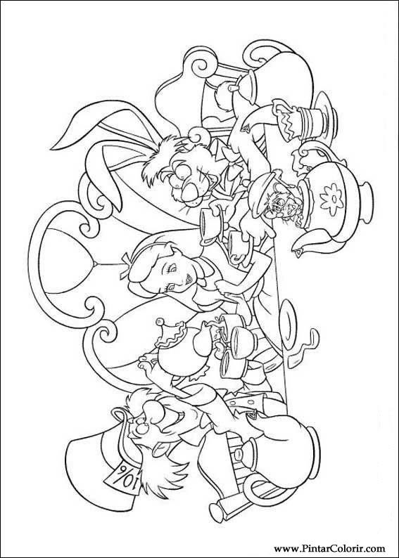 Desenhos Para Pintar E Colorir Alice No Pais Das