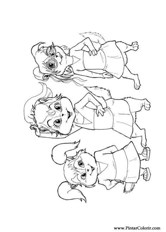 Tekeningen te schilderen & Kleur Alvin Chipmunks - Print Design 012