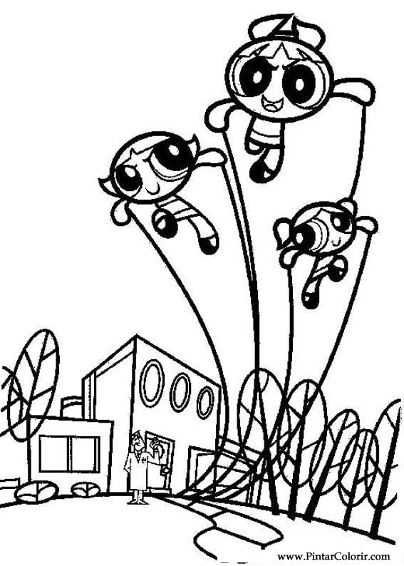 paint colour the powerpuff girls drawing 005