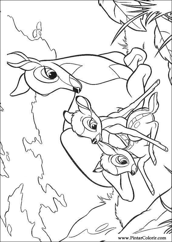 bambi coloring pages - drawings to paint colour bambi print design 027