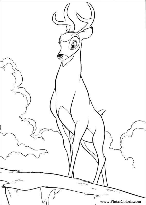 Drawings to paint colour bambi print design 029 for Coloring pages bambi