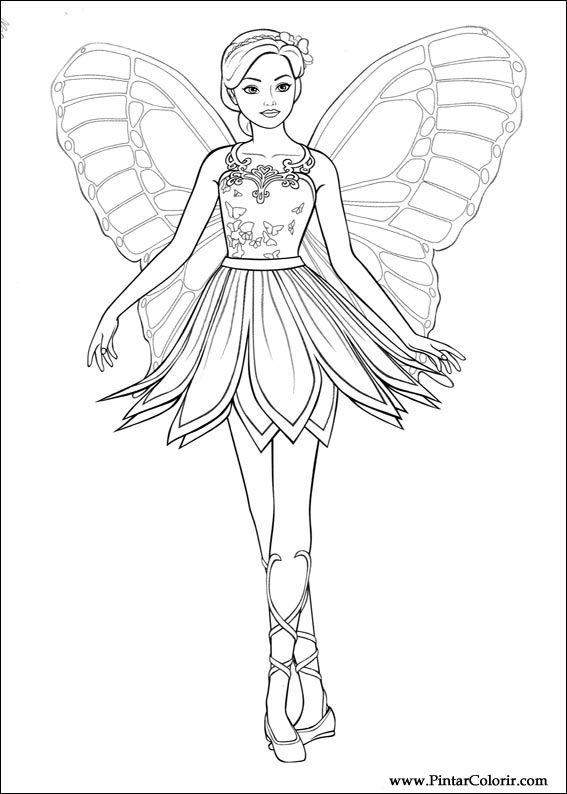 Pinturas y Color Barbie Mariposa - Diseño 011