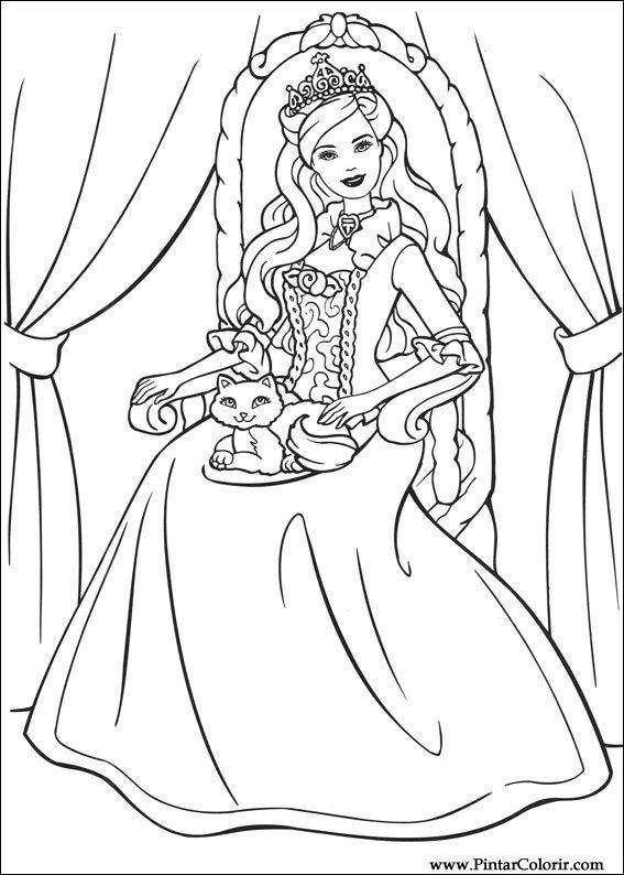Drawings To Paint amp Colour Barbie Princess Print Design 004