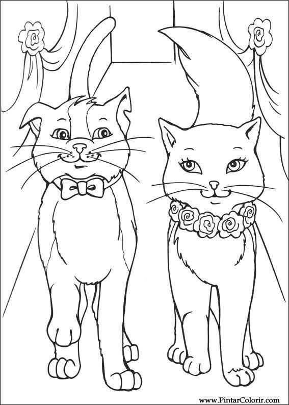 Desenhos Para Pintar E Colorir Barbie Princesa Imprimir Princess Cat Coloring Page Printable