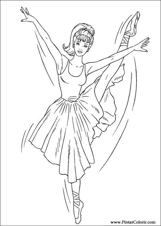 Zeichnungen zu malen und Farbe Barbie Print Design 046