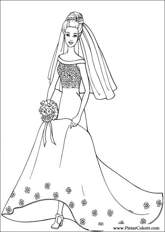 Drawings To Paint Amp Colour Barbie Print Design 064