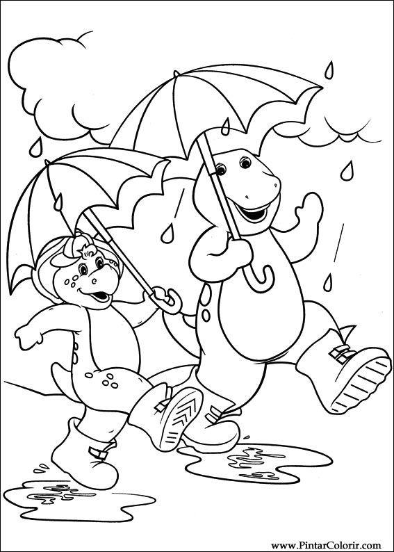 Dibujos para pintar y Color Barney - Diseño de impresión 004