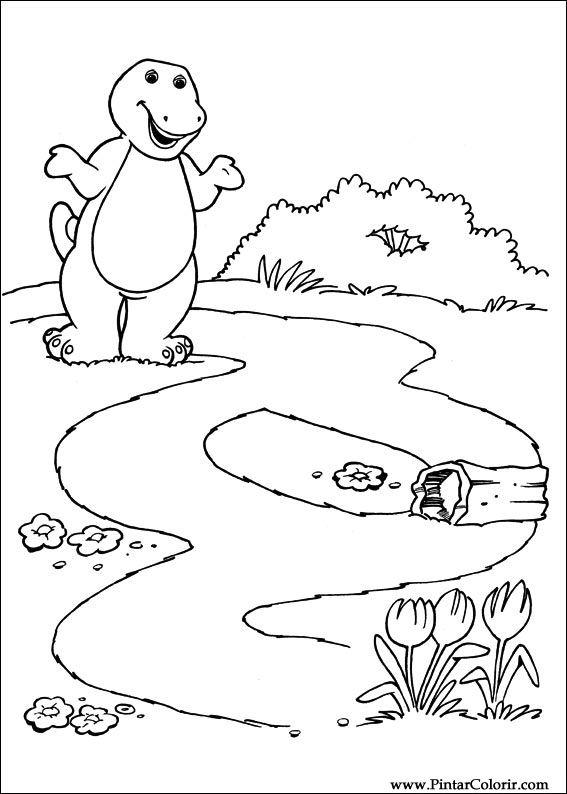 Dibujos para pintar y Color Barney - Diseño de impresión 006