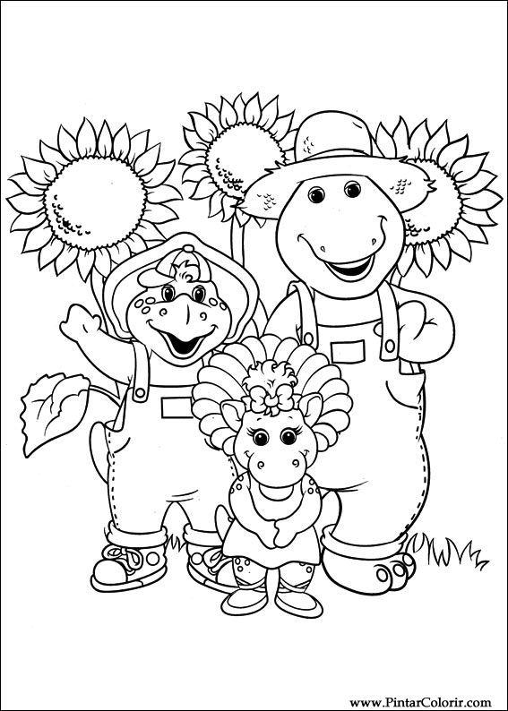 Dibujos para pintar y Color Barney - Diseño de impresión 024