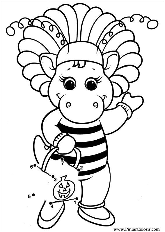 Coloring pages of barney at christmas ~ Drawings To Paint & Colour Barney - Print Design 033