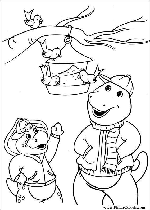 Dibujos para pintar y Color Barney - Diseño de impresión 039