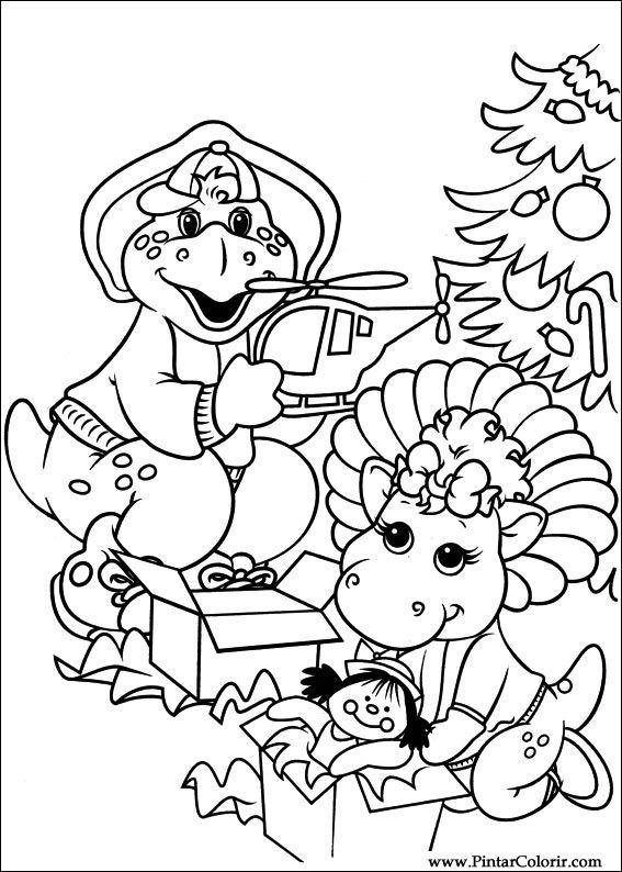 Dibujos para pintar y Color Barney - Diseño de impresión 041