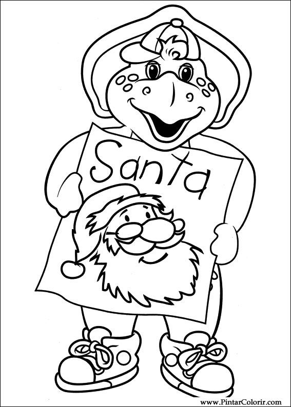Drawings to paint colour barney print design 042 for Barney halloween coloring pages