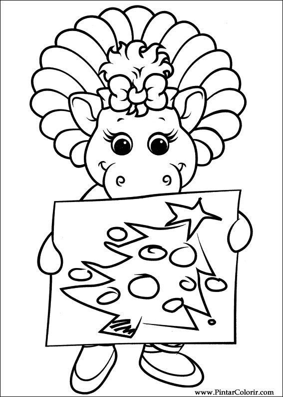 Dibujos para pintar y Color Barney - Diseño de impresión 043