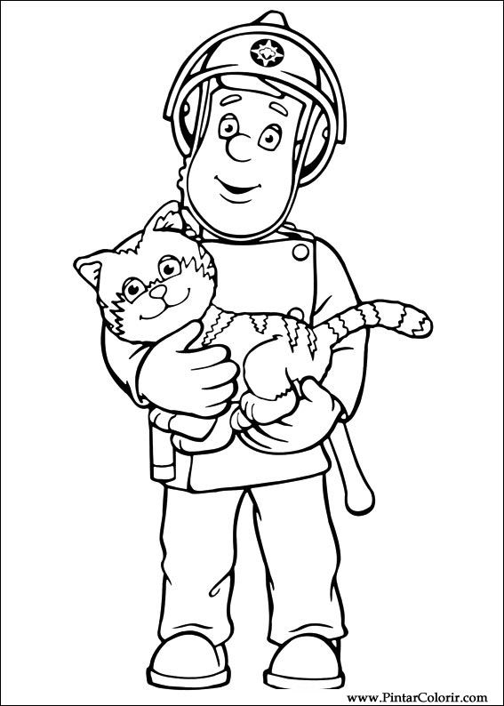 Drawings to paint colour fireman sam print design 001 for Fireman sam printable coloring pages