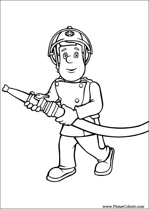Dibujos para pintar y Color Fireman Sam  Diseo de impresin 004