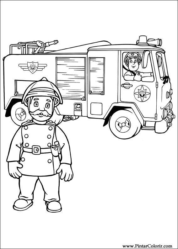 Zeichnungen zu malen und Farbe Feuerwehrmann Sam - Print Design 009