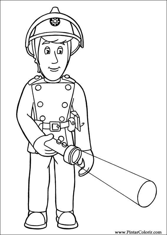Zeichnungen zu malen und Farbe Feuerwehrmann Sam - Print Design 010
