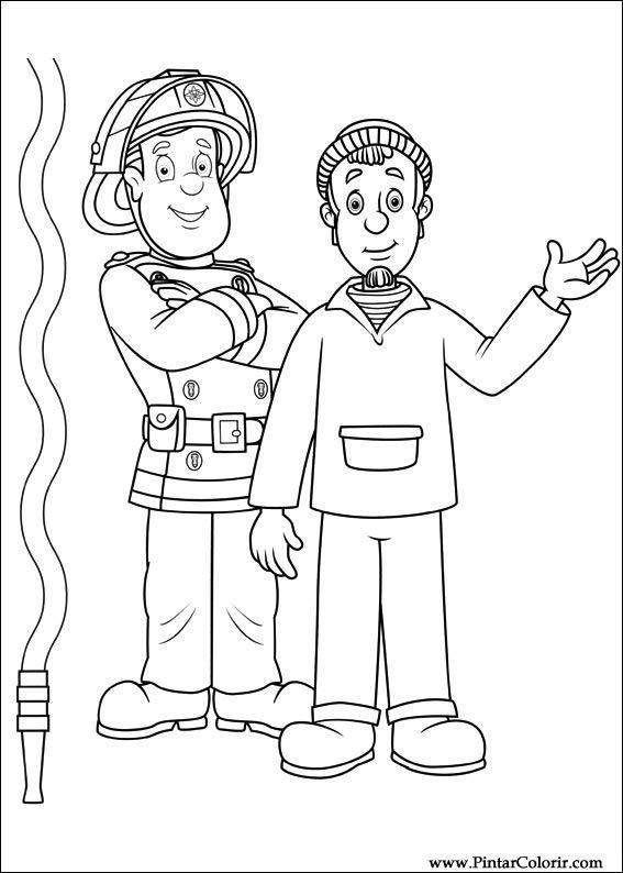 Zeichnungen zu malen und Farbe Feuerwehrmann Sam - Print Design 036