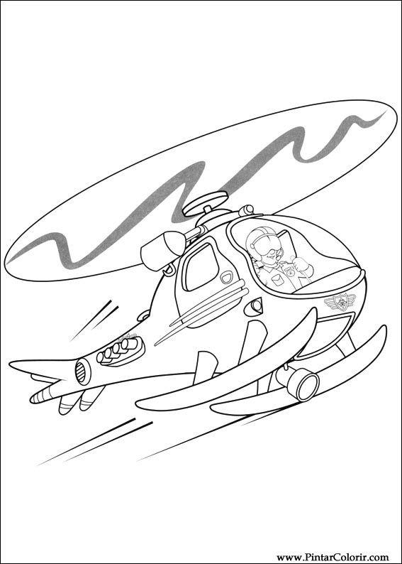 Zeichnungen zu malen und Farbe Feuerwehrmann Sam - Print Design 040