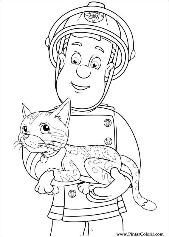 Tekeningen Schilderen Kleur Brandweerman Sam Print