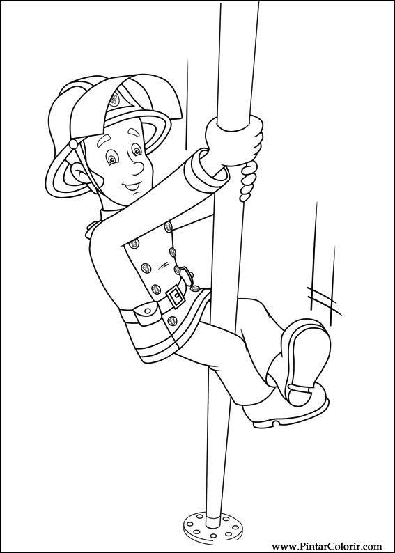 Zeichnungen zu malen und Farbe Feuerwehrmann Sam - Print Design 046