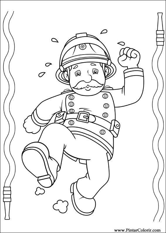 Zeichnungen zu malen und Farbe Feuerwehrmann Sam - Print Design 050