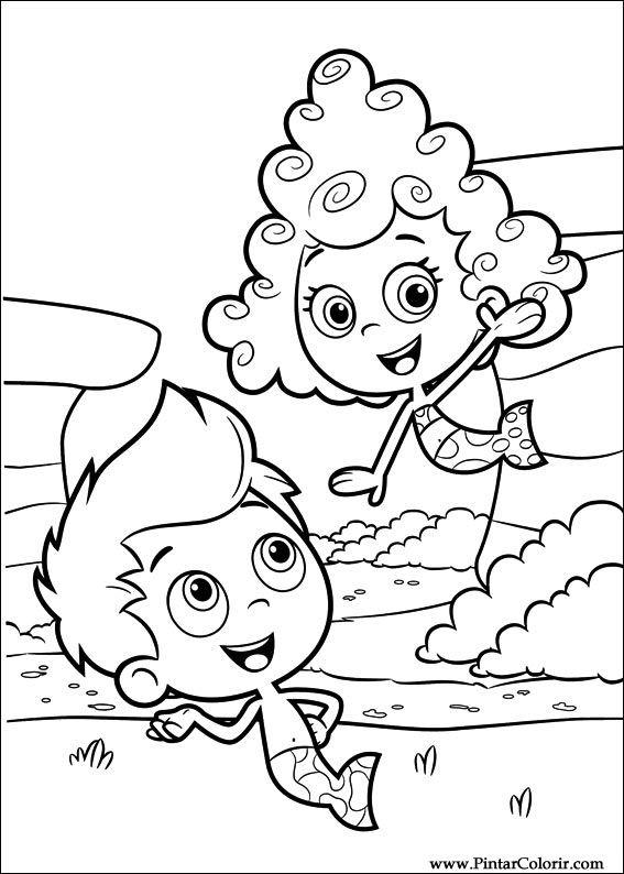 Dibujos para pintar  Colour Bubble Guppies  Diseo de impresin 007