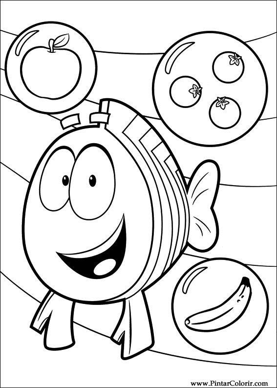Dibujos para pintar  Colour Bubble Guppies  Diseo de impresin 008
