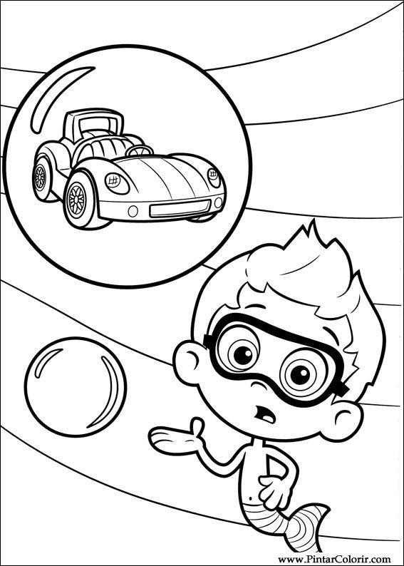 Dibujos para pintar  Colour Bubble Guppies  Diseo de impresin 024