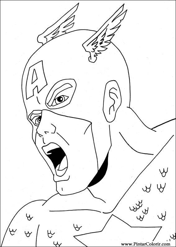 Dibujos para pintar y Color Captain America  Diseo de impresin 006
