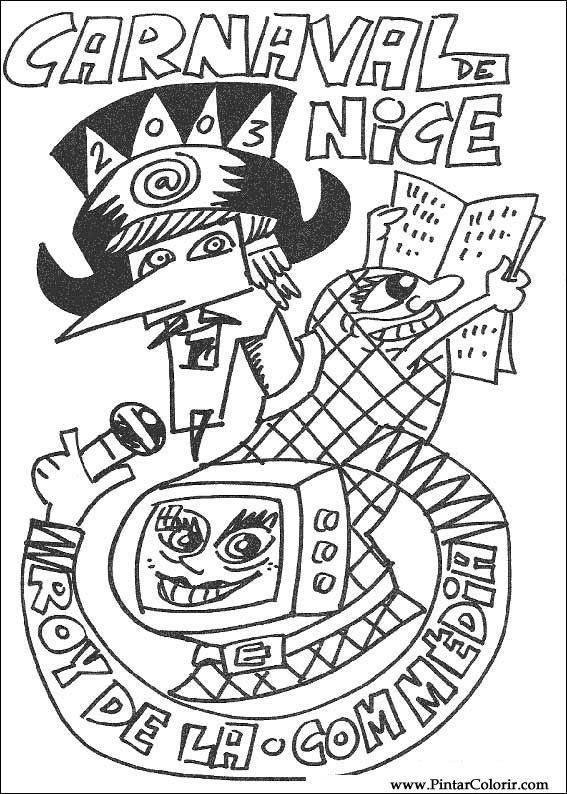 Dibujos para pintar y Color Carnaval - Diseño de impresión 008