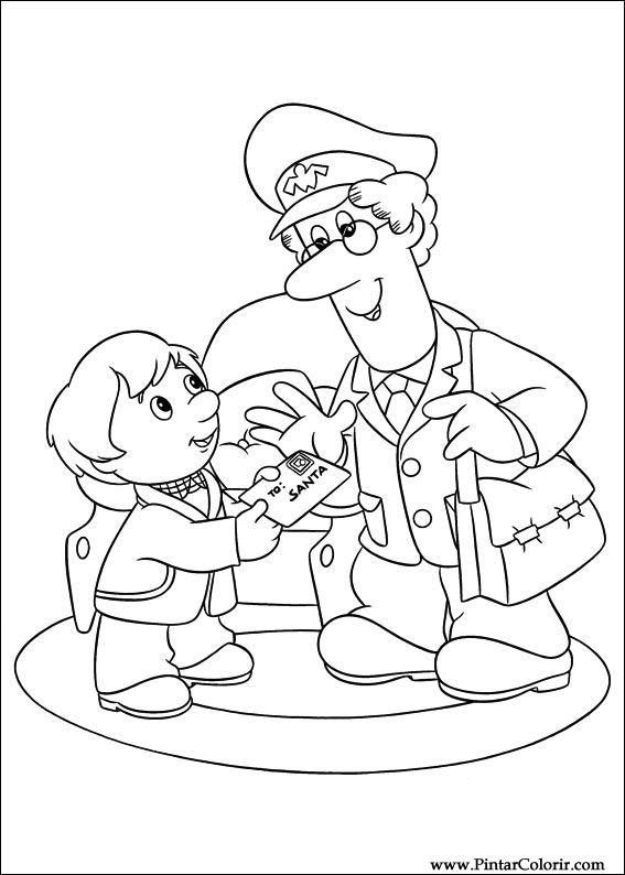 postman pat coloring pages - drawings to paint colour postman pat print design 012