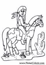 Pintar e Colorir Cavalos - Desenho 005