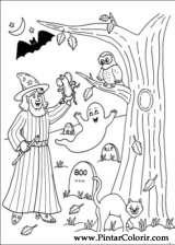 Pintar e Colorir Dia Das Bruxas - Desenho 002