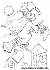 Pintar e Colorir Dia Das Bruxas - Desenho 056