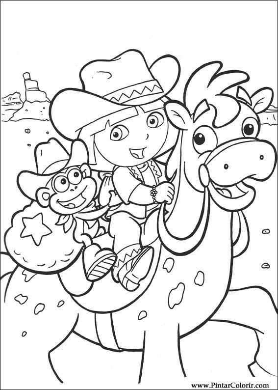 Drawings To Paint  Colour Dora The Explorer  Print Design 002