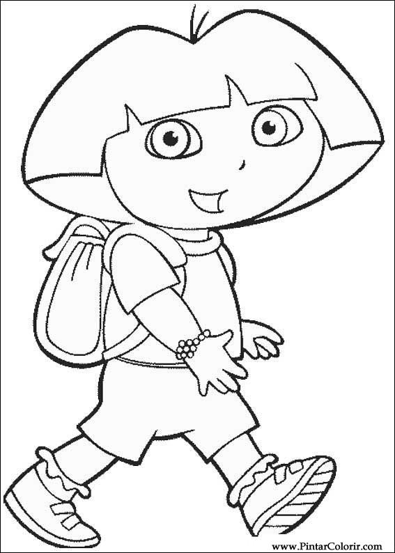 Drawings To Paint & Colour Dora The Explorer - Print Design 031
