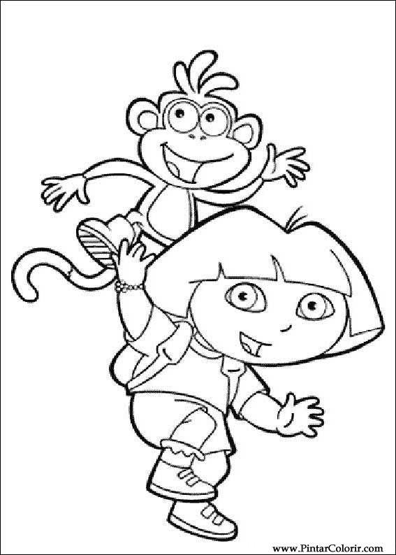 Drawings To Paint & Colour Dora The Explorer - Print ...