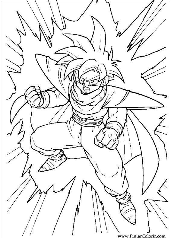 Zeichnungen zu malen und Farbe Dragon Ball Z - Print Design 006
