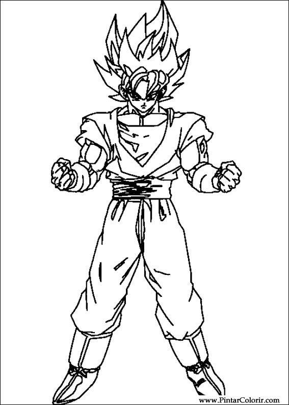 Zeichnungen Zu Malen Und Farbe Dragon Ball Z Print