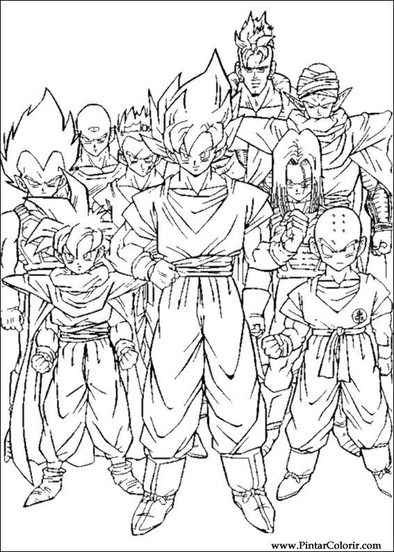 Drawings To Paint & Colour Dragon Ball Z - Print Design 060