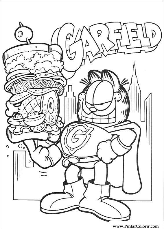 Drawings To Paint & Colour Garfield - Print Design 039