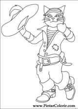 Pintar e Colorir Gato De Botas - Desenho 003