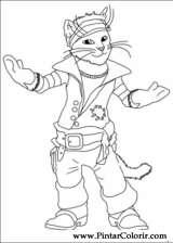 Pintar e Colorir Gato De Botas - Desenho 006